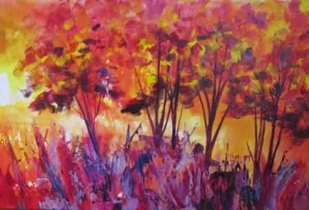 Vibrant tree landscape painting